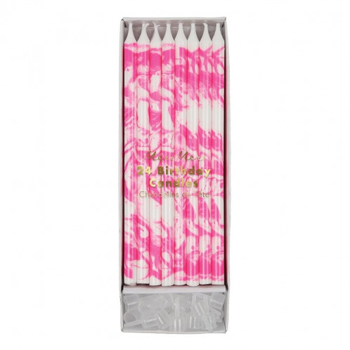 Birthday Candles - Pink Marbled