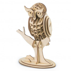 Wooden owl 3D puzzle Improve concentration, problem solving and fine motor skills building this wooden gorilla 3D puzzle.      No tools or glue needed. Simply push out the pieces and assemble according to the diagrams included inside the package.