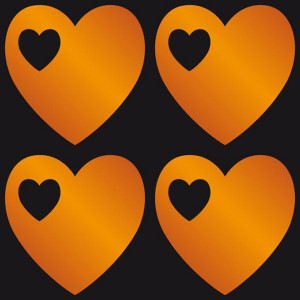 Glow Stickers - Hearts Orange