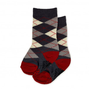 Baby Socks - Argyle Charcoal
