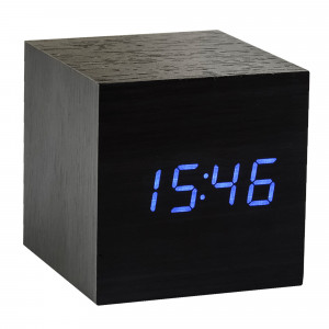 Gingko Cube Clock - Black / blue numbers