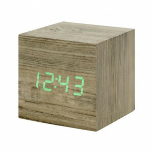 Gingko Cube Clock - Ash Wood / Green Numbers