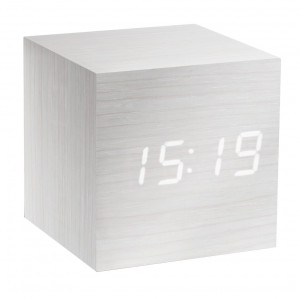 Gingko Cube Clock - White wood / White numbers
