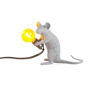 Mouse Lamp - Sitting Grey/Yellow