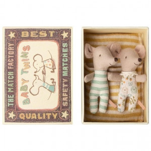 Maileg mouse - Baby Twins In A Box yellow striped blanket