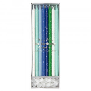 Birthday Candles - Blue Glitter