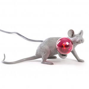 Mouse Lamp - Lie Down Grey/Red