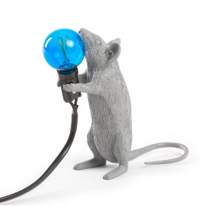Mouse Lamp - Standing Grey/Blue