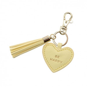 Key Ring Heart - Be Happy (Yellow)
